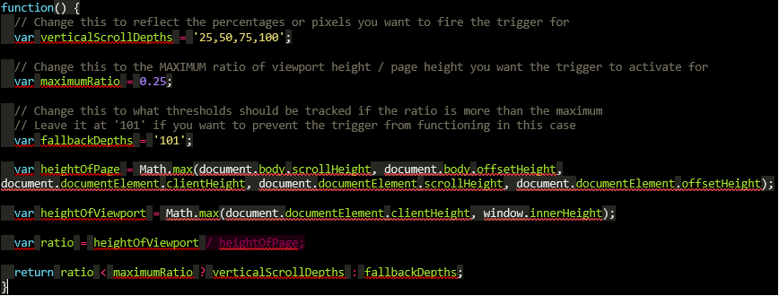 Javascript: krótka strona scrollowanie