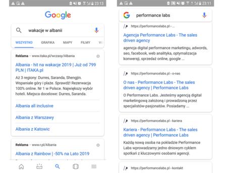 Ikony firm w wynikach wyszukiwania na mobile