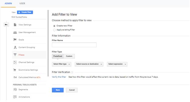 Dodaj nowy filtr w google analytics