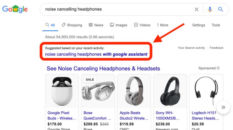 sugestie google w sieci wyszukiwania