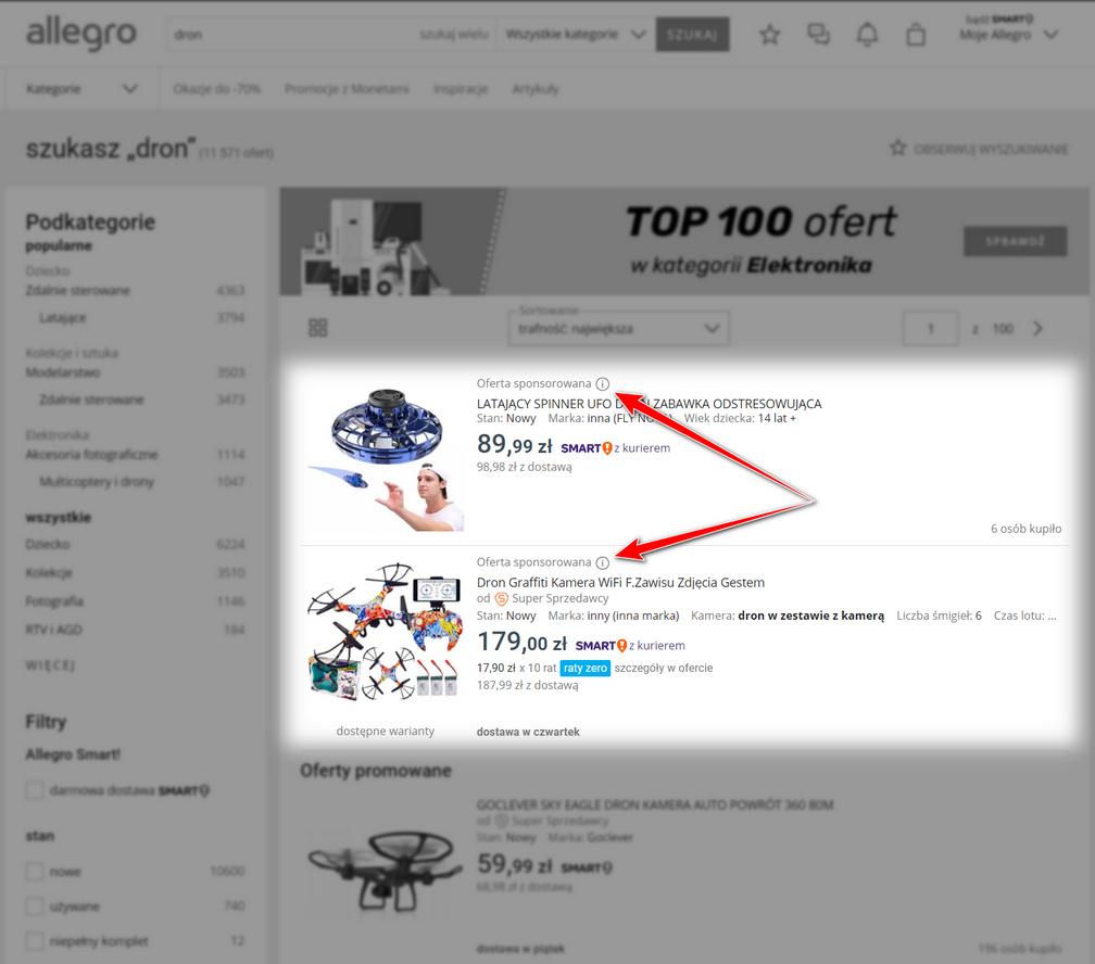 Oferta sponsorowana w Allegro (górna część wyników)
