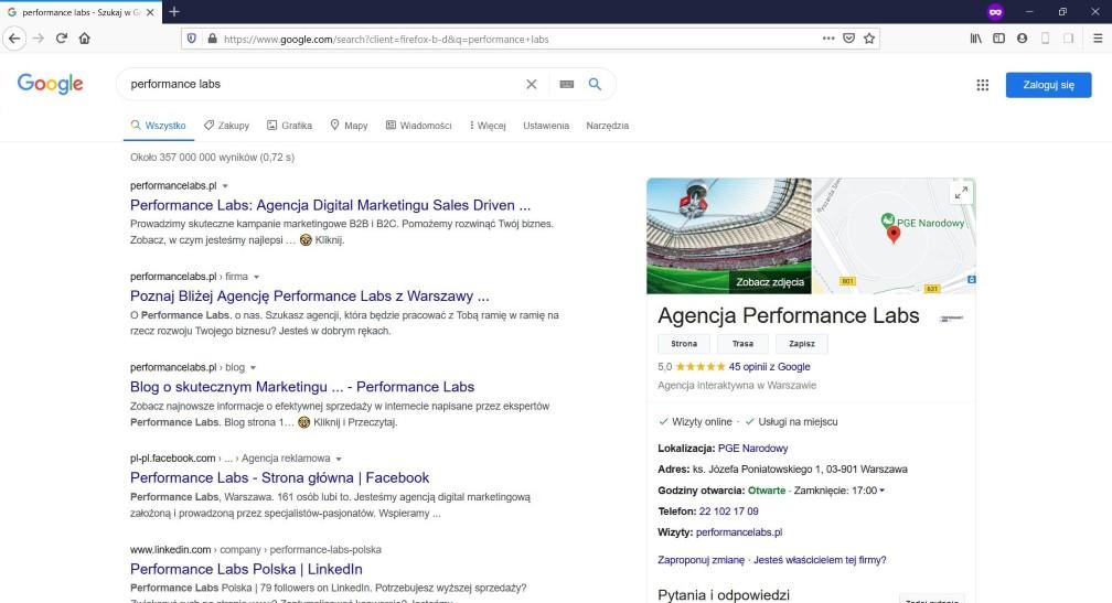 Strona z wynikami wyszukiwania