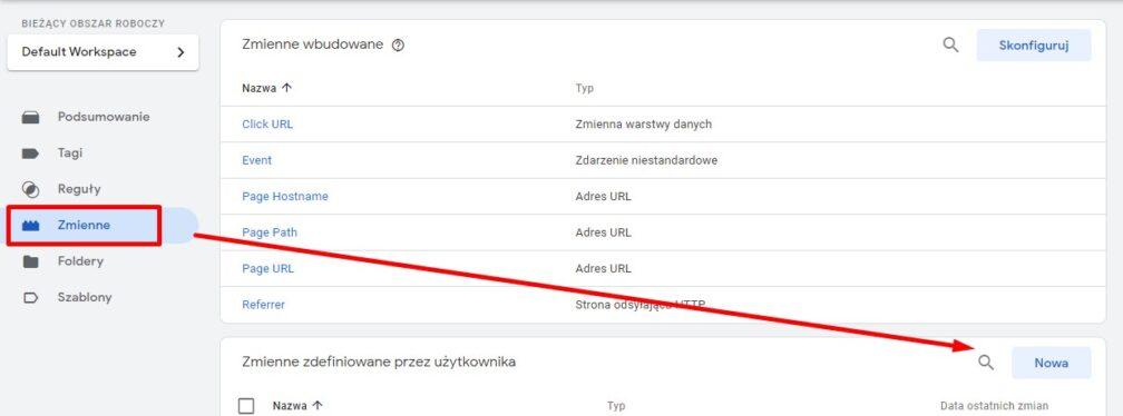 Tworzenie zmiennej zdefiniowanej przez użytkownika