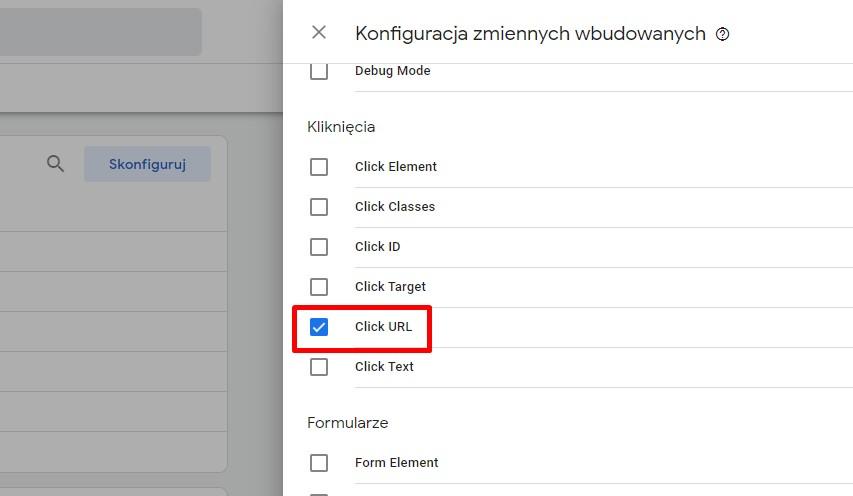 Konfigurowanej zmiennej wbudowanej - click url